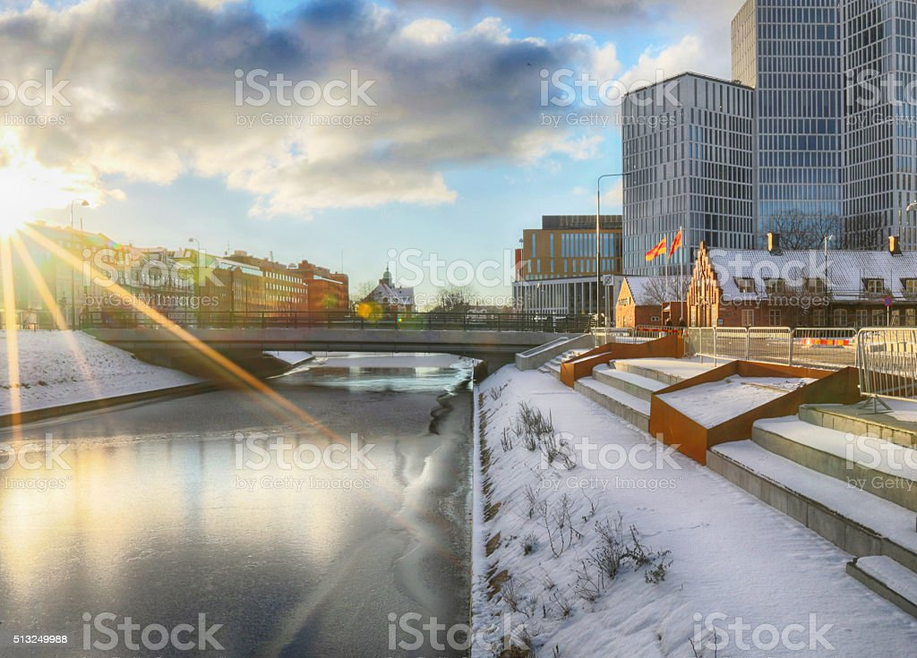 Malmo canal and buildings stock photo