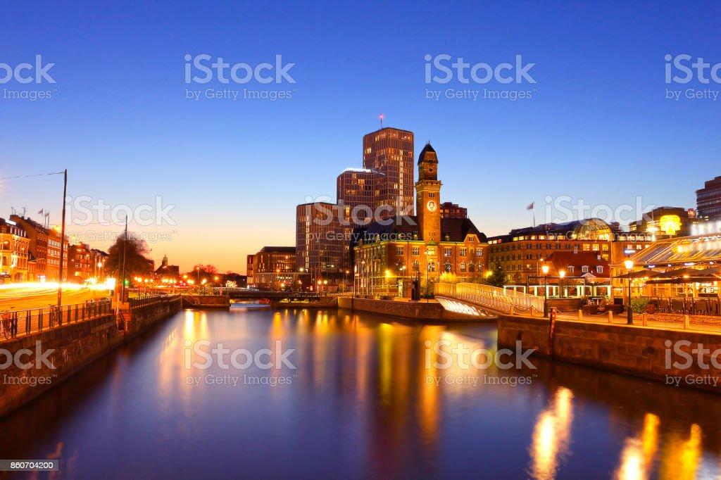 Malmo city urban landscape at night, Sweden stock photo