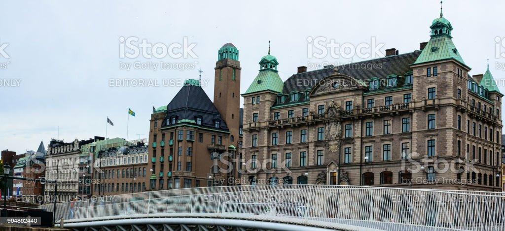 Malmo cityscape, Norra Vallgatan street, old buildings, canal and bridge royalty-free stock photo