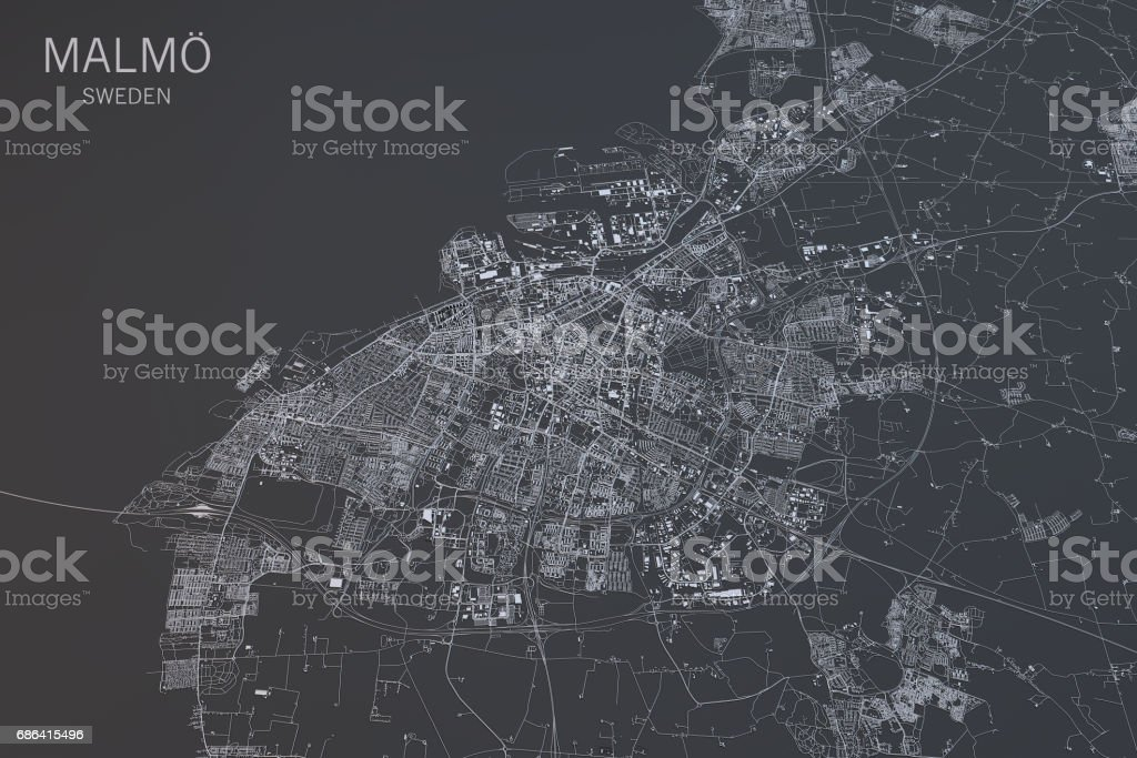 Malmo map, satellite view, city, Sweden. 3d rendering stock photo