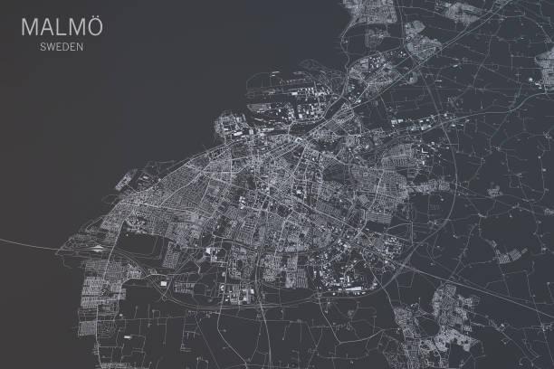 malmö karta, satellitbild, city, sverige. 3d-rendering - malmö bildbanksfoton och bilder