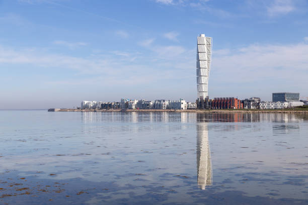 Malmo skyline with Turning Torso skycraper stock photo