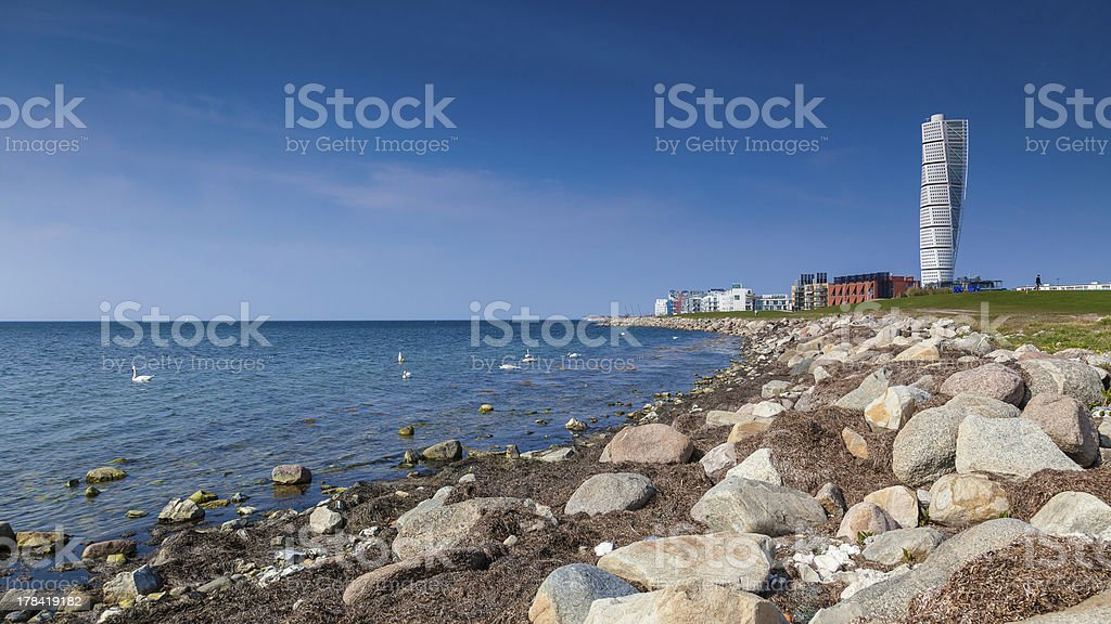 Malmo Sweden seen from the shore stock photo