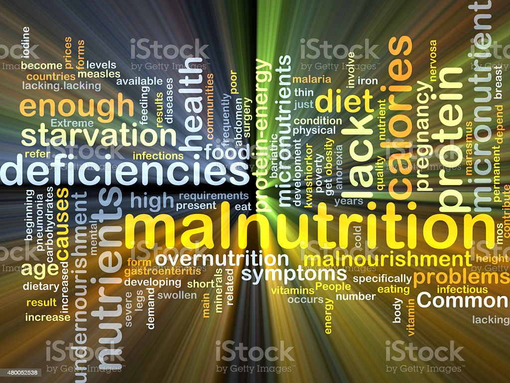 Malnutrition background concept glowing stock photo