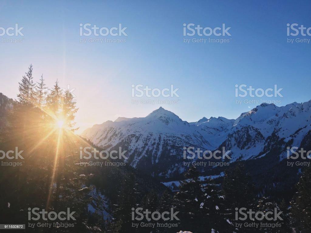 Maloja pass at sunset in winter stock photo