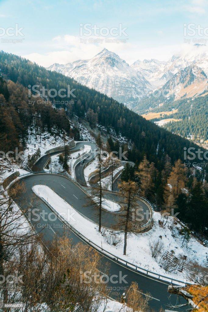 Maloja pass in Switzerland stock photo