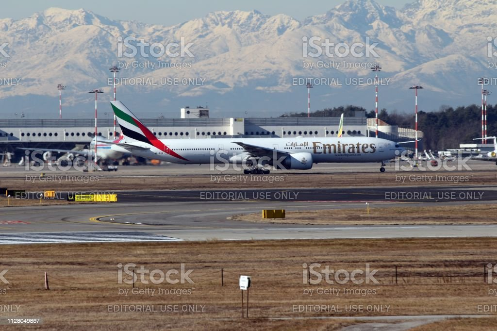 Malpensa Airport Milan Italy 02 06 2019 Emirates A6ege Boeing 777 Passenger Jet At Landing Stock Photo Download Image Now Istock