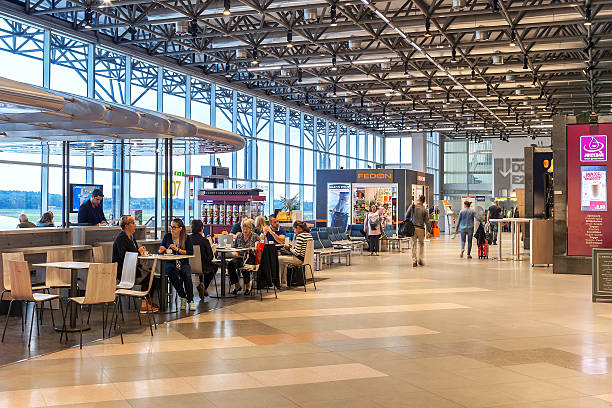 Malpensa airport Terminal 2 interior view. stock photo