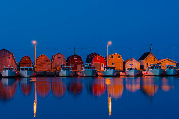 malpeque harbour p.e.i. blue hour. - prince edward island stock photos and pictures