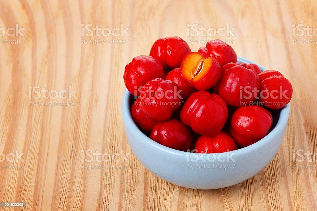 Malpighia glabra (red acerola), tropical fruit stock photo