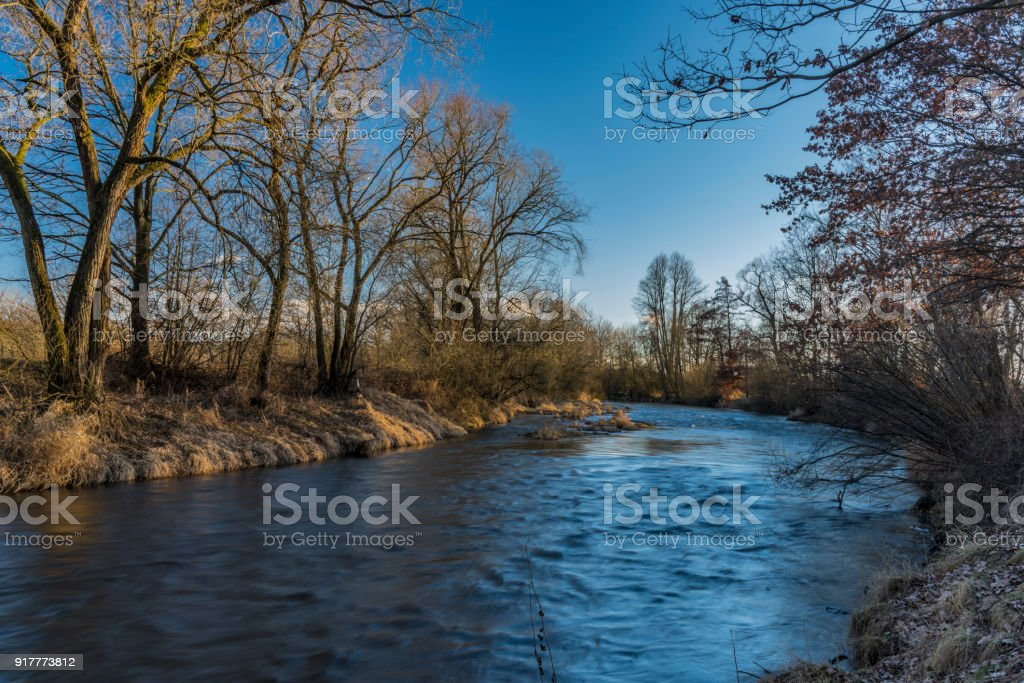 Malse river near Ceske Budejovice city stock photo