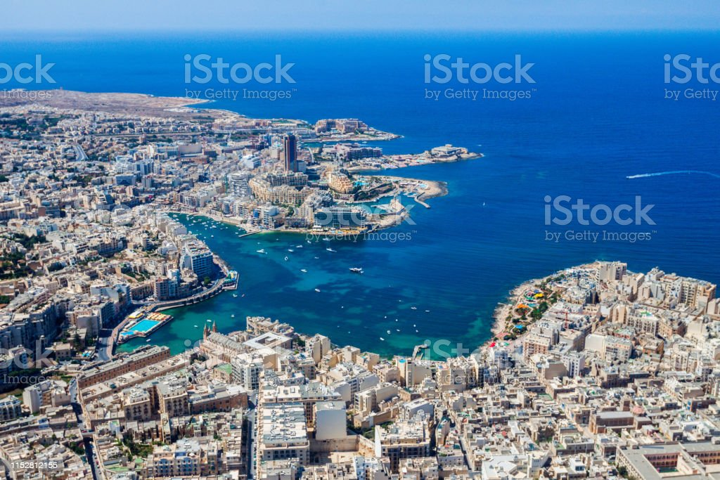 Malta Aerial View St Julians Or San Giljan And Tassliema Cities St