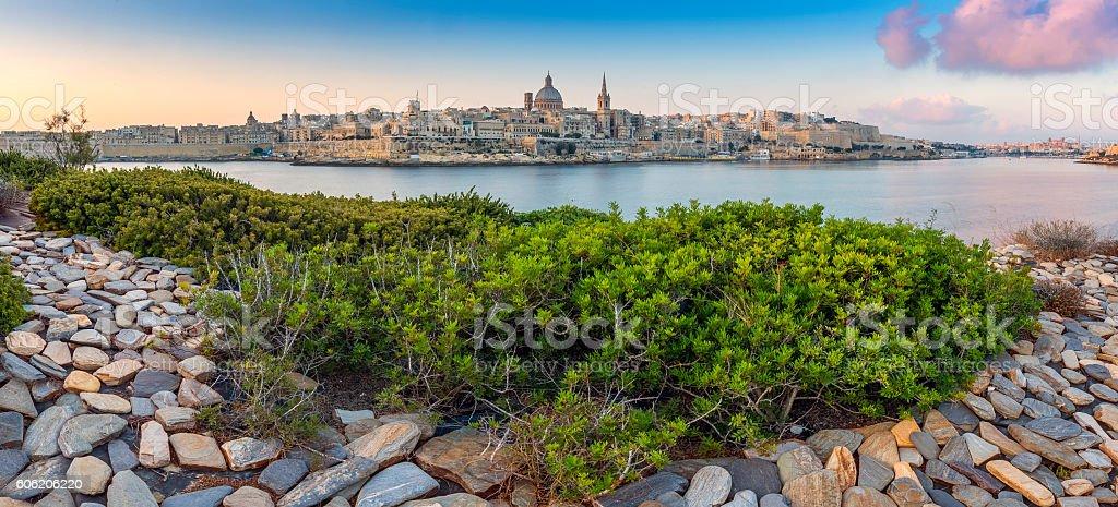 Malta, Panoramic skyline view of the ancient city of Valletta stock photo