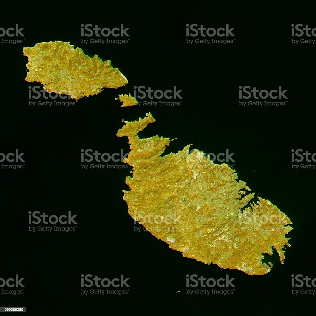 Malta Topographic Map Natural Color Top View stock photo