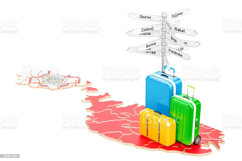 Malta travel concept. Map with suitcases and signpost, 3D rendering stock photo