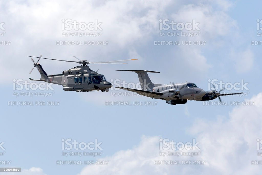 Maltese armed forces Kingair and Agusta Helicopter stock photo