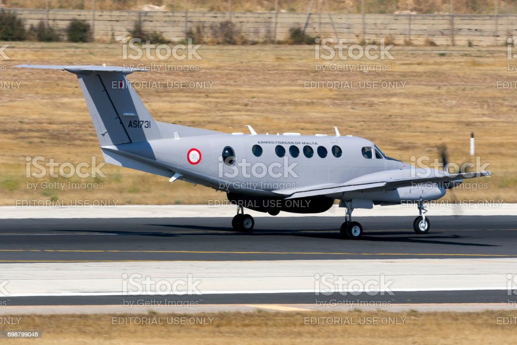 Maltese Armed Forces`s latest Kingair on training session stock photo