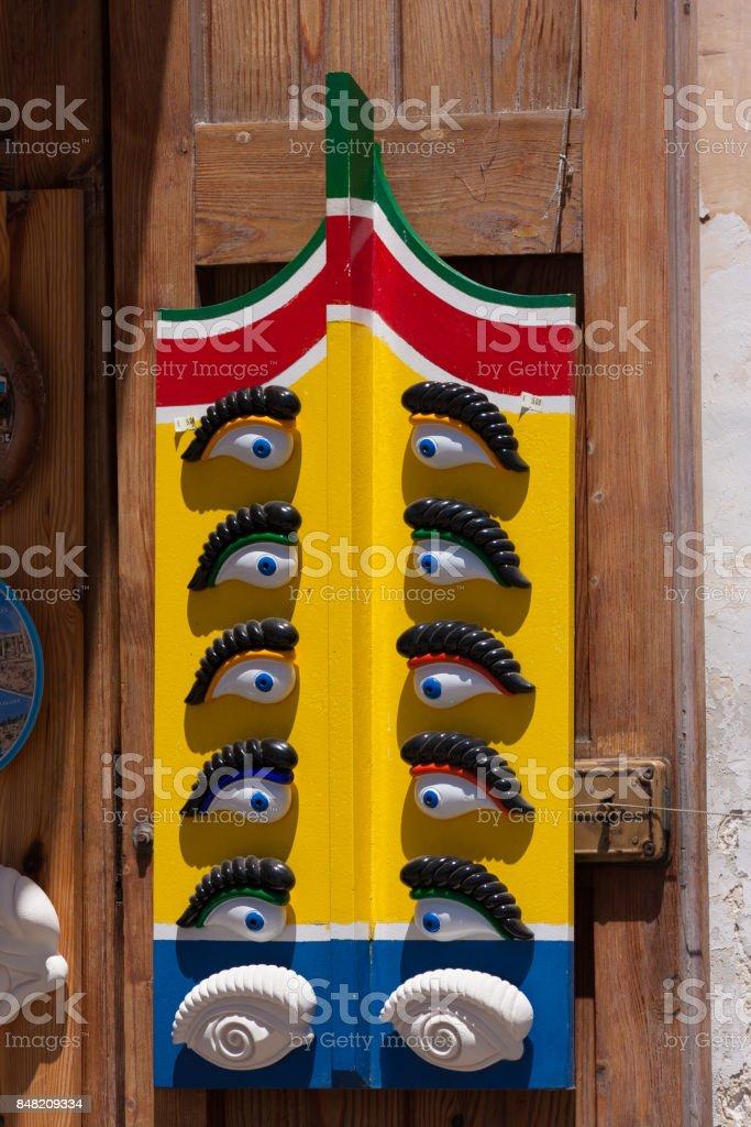 maltese boat eyes for sale stock photo