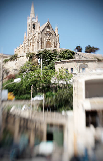 Maltese Church on Hill stock photo