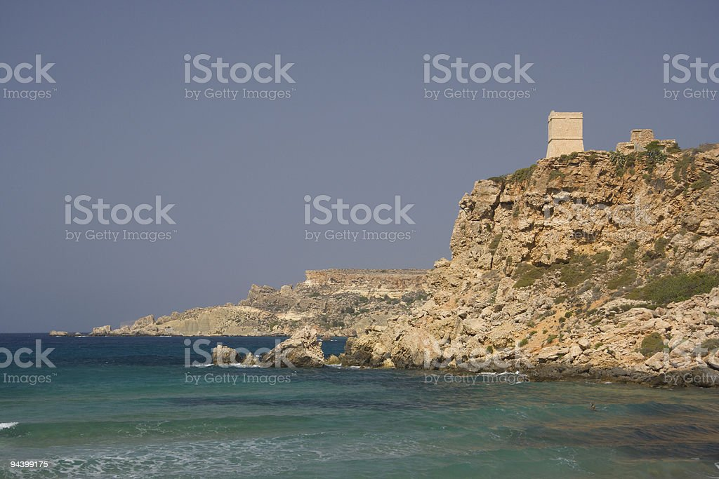 Maltese Coastline And Watch Tower royalty-free stock photo