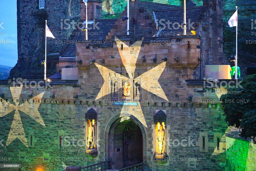 Maltese Cross on Edinburgh Castle, Edinburgh, Scotland,UK stock photo