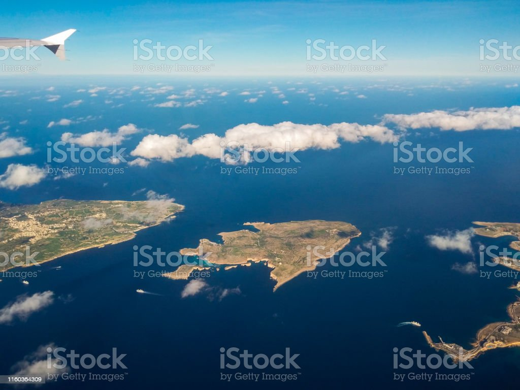 Maltese island from above. Airplane view