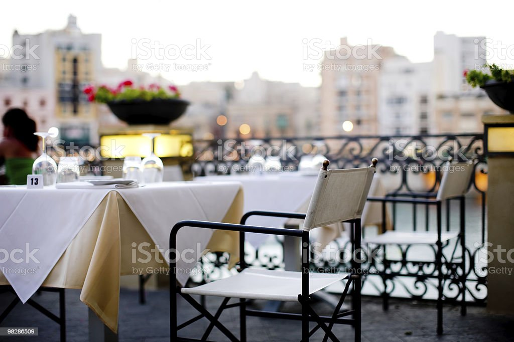 Maltese Outdoor Restaurant in the evening royalty-free stock photo