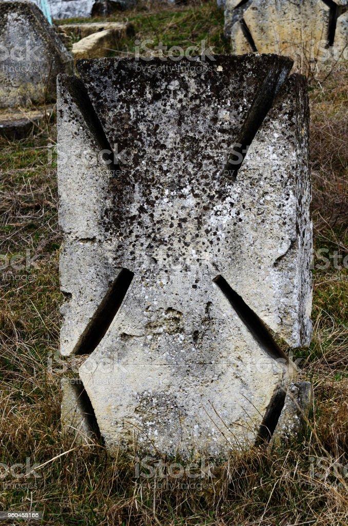 Maltese stone cros on ancient ukrainian Cossack's graveyard,Odessa, Ukraine,Europe stock photo