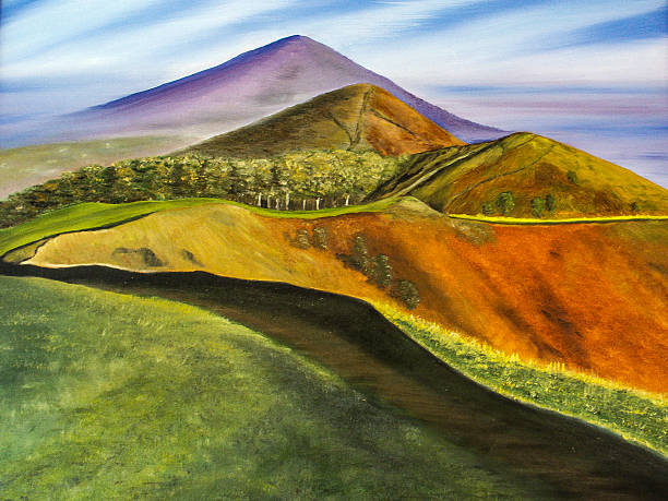 malvern hills worcester painting across the top of the hills - bilder landschaften stock-fotos und bilder