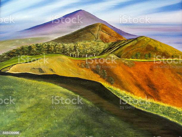 Photo of Malvern Hills Worcester painting across the top of the hills