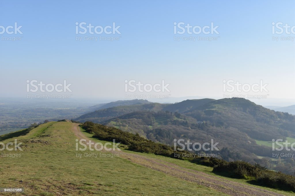 Malverns view, looking south, British Camp hillfort on right stock photo