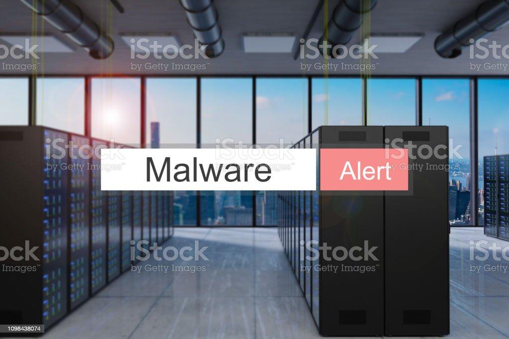 malware alert in red search bar modern server room skyline view, 3D...