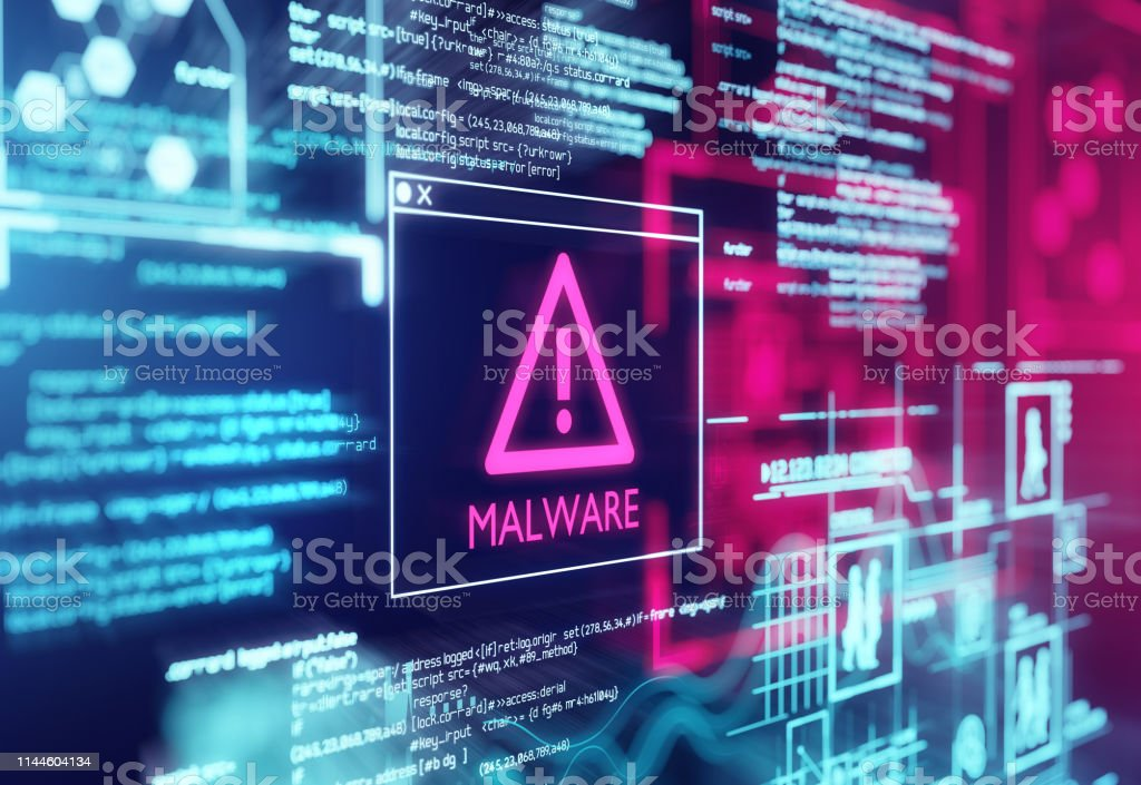 Malware Detected Warning Screen A computer screen with program code warning of a detected malware script program. 3d illustration Spyware Stock Photo