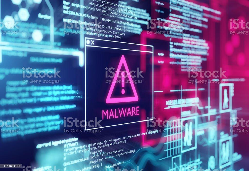 Вредоносные программы Обнаруженный предупреждающий экран - Стоковые фото Антивирус роялти-фри