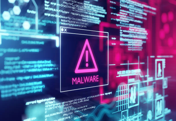 Malware Detected Warning Screen A computer screen with program code warning of a detected malware script program. 3d illustration computer crime stock pictures, royalty-free photos & images