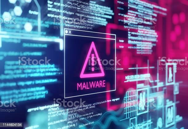 Вредоносные Программы Обнаруженный Предупреждающий Экран — стоковые фотографии и другие картинки Антивирус