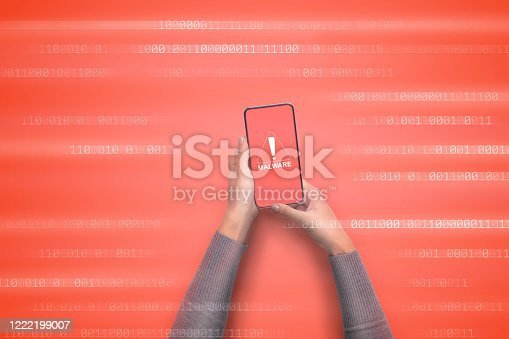 1008108222 istock photo Malware notification. Warning virus alert alarm on screen 1222199007