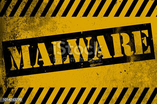 istock Malware sign yellow with stripe 1014243770