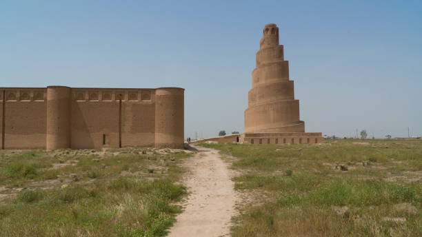 Malwiya Tower in Samarra, Iraq Great Mosque minaret in Samarra, Iraq minaret stock pictures, royalty-free photos & images