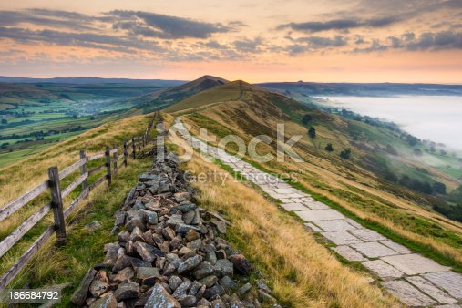 Wide angle view looking along the Mam Tor footpath in the Peak District National Park.