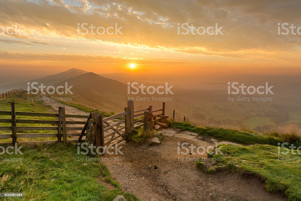 Mam Tor Wooden Gate In The Peak District. stock photo