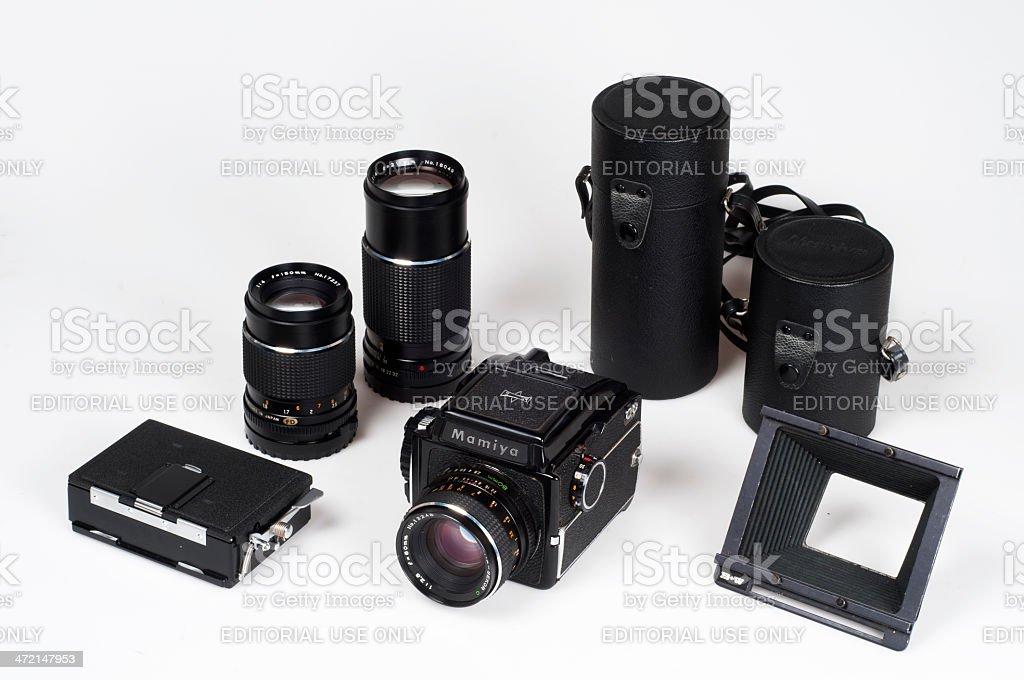 Mamiya Medium format film Camera Set stock photo