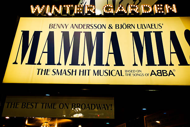 mamma mia musical in broadway - mamma mia stock photos and pictures