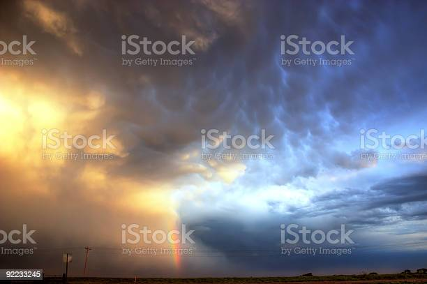 Mammatus Clouds with Rainbow
