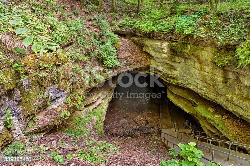 Stock photograph of the Historic Entrance at Mammoth Cave National Park in Kentucky, USA
