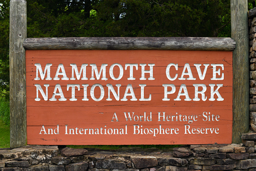 Mammoth Cave National Park welcome sign at the entrance.