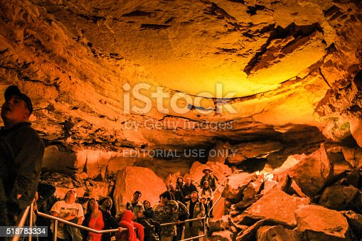 Mammoth Cave, USA - March 26, 2015: Visitors attending ranger led cave tours within  Mammoth Caves National Park.