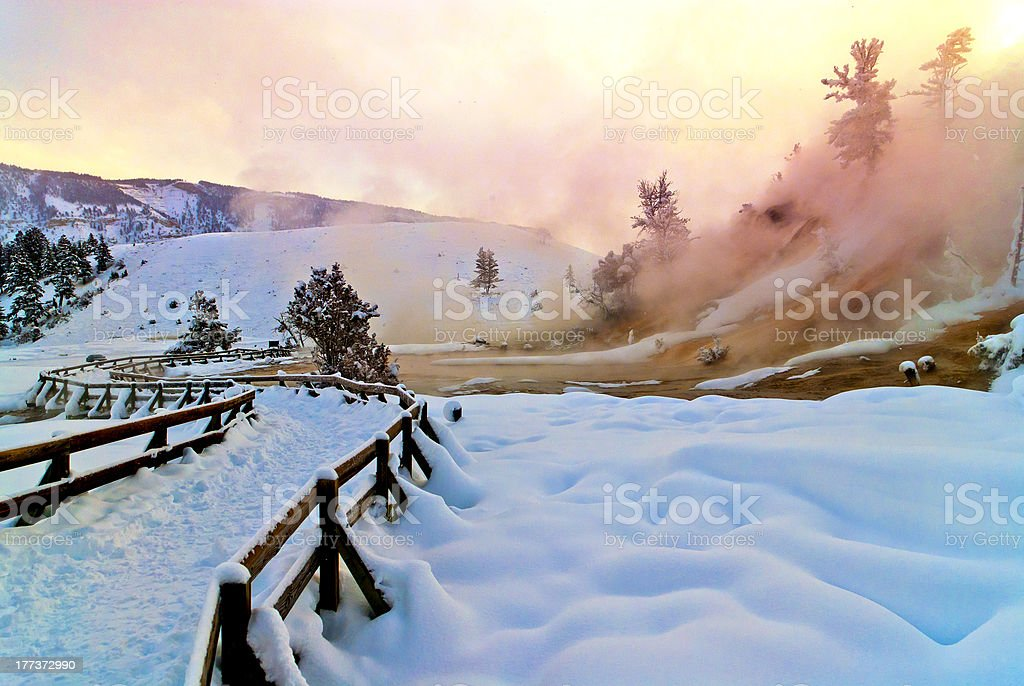 Mammoth Hot Spring Terraces stock photo