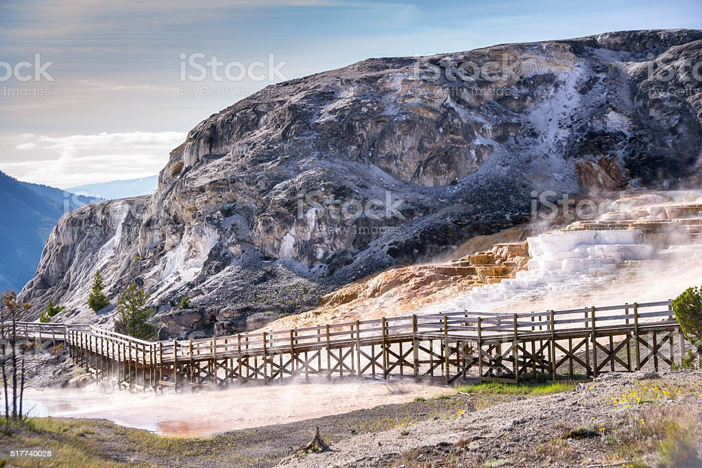 Mammoth Hot Springs Boardwalk stock photo