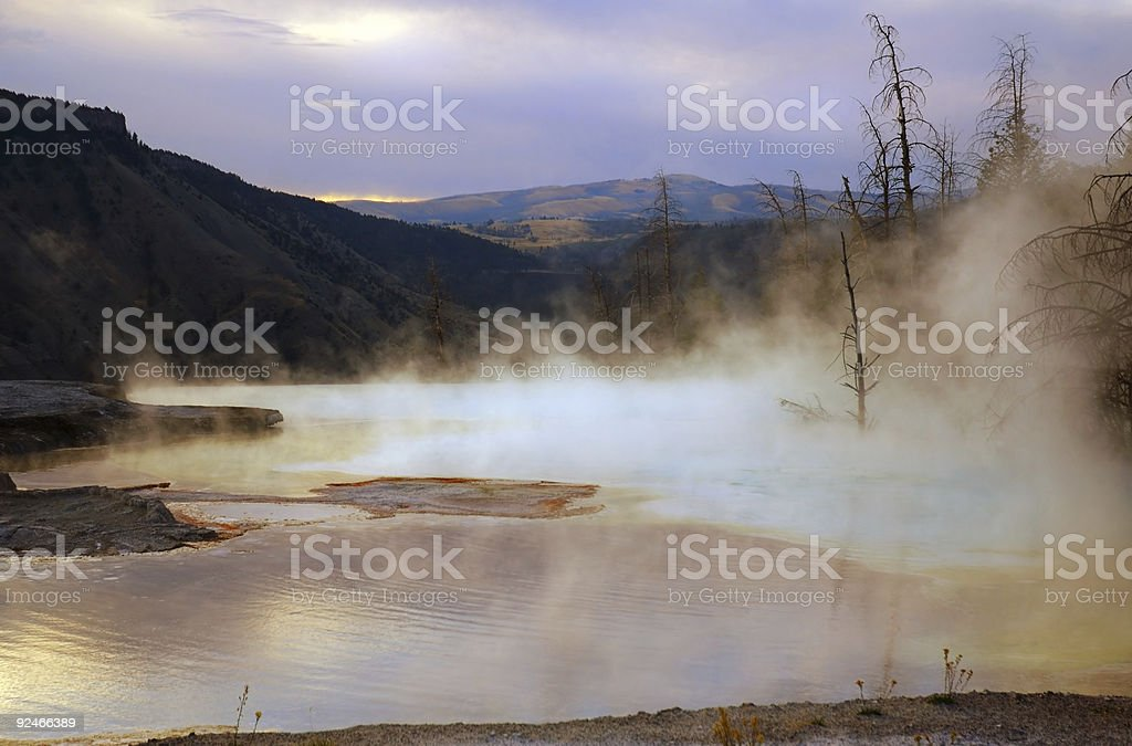 Mammoth Hot Springs Dawn stock photo